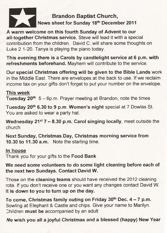 news letter 18 dec 2011